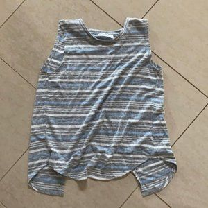 Open back tank top with blue white grey stripes